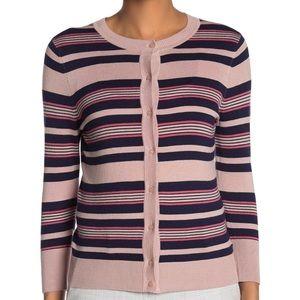 Halogen Petite Pink Blue Striped Sweater Cardigan